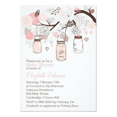 Pink Mason Jars & Lovebirds Invitations