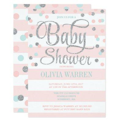 Pink Mint And Silver Baby Shower Invitation
