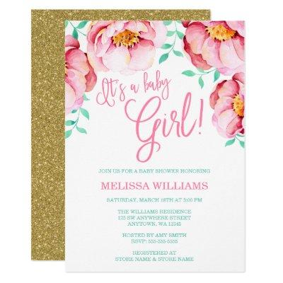 Pink Mint Floral Watercolor Baby Shower Invitations