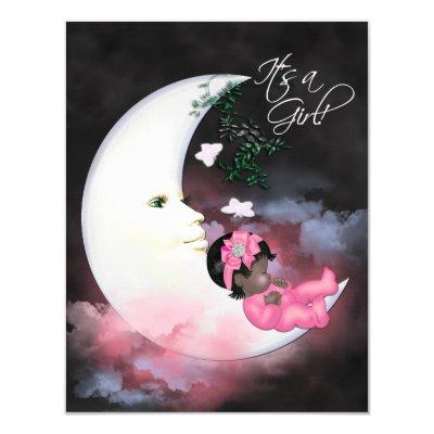 Pink Moon African American Baby Girl Shower Invitations