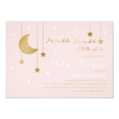Pink Moon and Stars Baby Shower Invitations