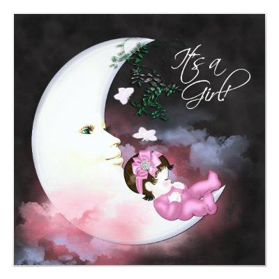 Pink Moon Baby Girl Shower Invitaions Invitations
