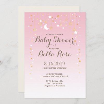 Pink Moon Star Girl Baby Shower Invite