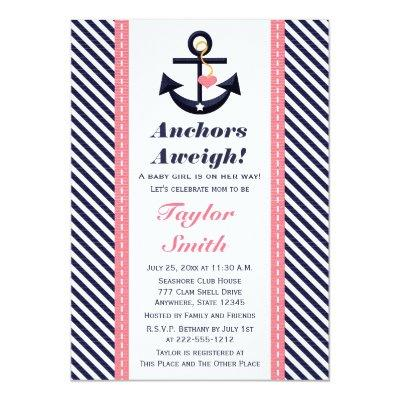 Pink Navy Anchor Nautical Invitations