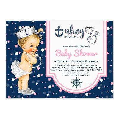elegant pink and blue twin baby shower invitations | baby shower, Baby shower invitations