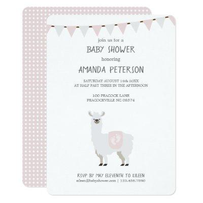Pink & Off-White Gender Neutral Llama Baby Shower Invitation