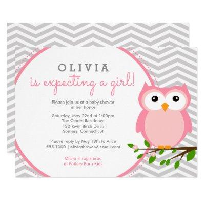 Pink Owl Baby Shower, Grey Chevron Invitations