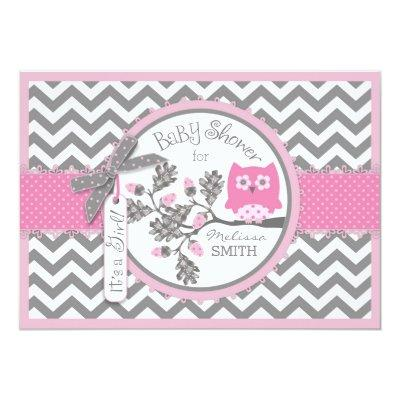 Pink Owl Chevron Print Baby Shower Invitation