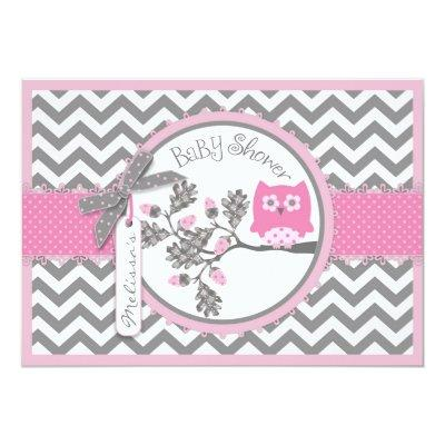 Pink Owl Chevron Print Baby Shower Invitation