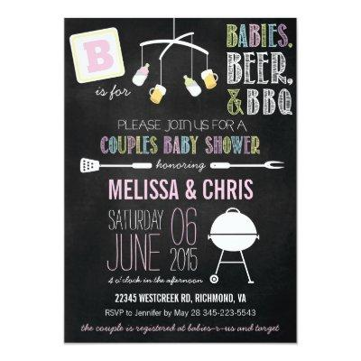 Pink Pastels Couples Baby Shower BBQ Invitations