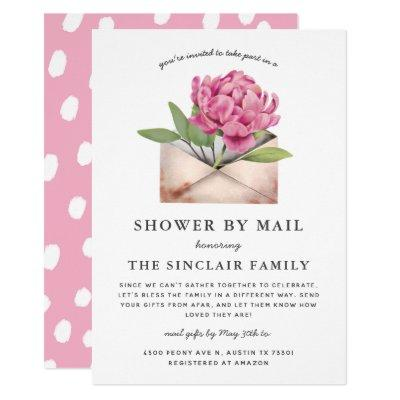 Pink Peony Flower Shower By Mail Invitation