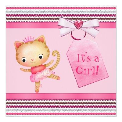 Pink Princess Ballerina Kitty Cat Baby Shower Invitation