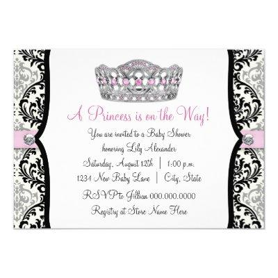 Pink Princess Pink Black Damask Baby Shower Invitation
