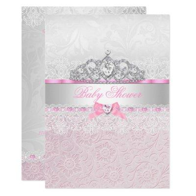 Pink Princess Tiara Lace Baby Shower Invitations
