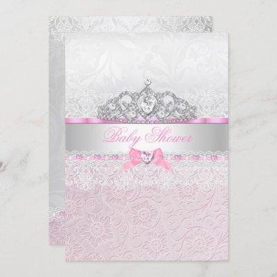 Pink Princess Tiara Lace Baby Shower Invitation