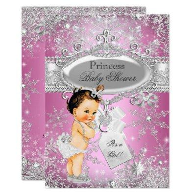 Pink Princess Winter Wonderland Baby Shower Brown Invitation