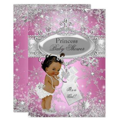 Pink Princess Winter Wonderland Baby Shower Ethnic Invitations