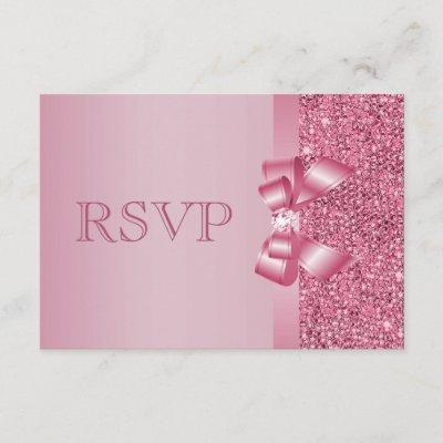 Pink Printed Sequins Bow & Diamond RSVP