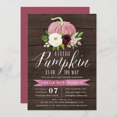 Pink Pumpkin Rustic Wood Baby Shower Invitation