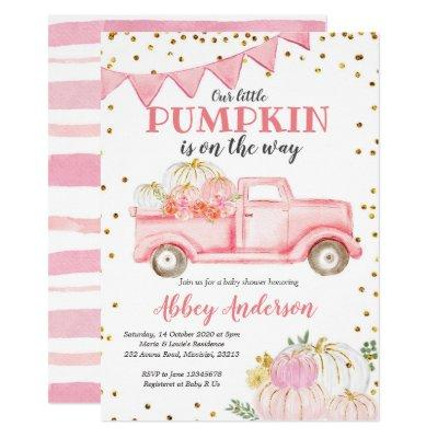 Pink Pumpkin Truck Girl Baby Shower Invitation