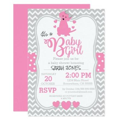 Pink Puppy Baby Shower Invitation