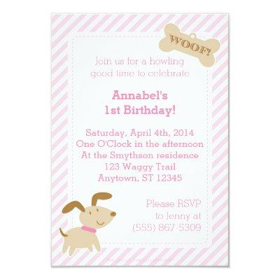 Pink Puppy Dog Invitations with Stripes and Dots