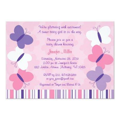 Pink & Purple Butterfly Baby Shower Invitations