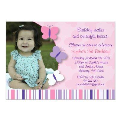 Pink Purple Butterfly Photo Birthday Invitations