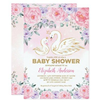 Pink Purple Floral Swan Princess Baby Shower Invitation