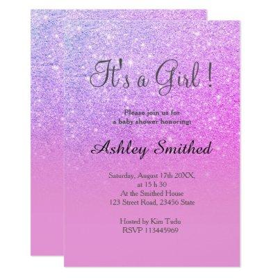 Pink purple glitter pink ombre girl baby shower invitation