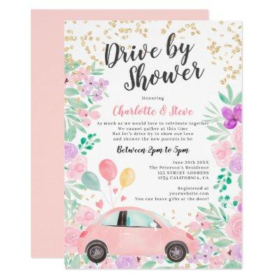 Pink purple watercolor car baby drive by shower invitation