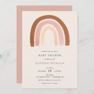 Pink Rainbow Baby Shower invitation