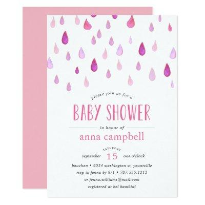 Pink Raindrops | Baby Shower Invitations