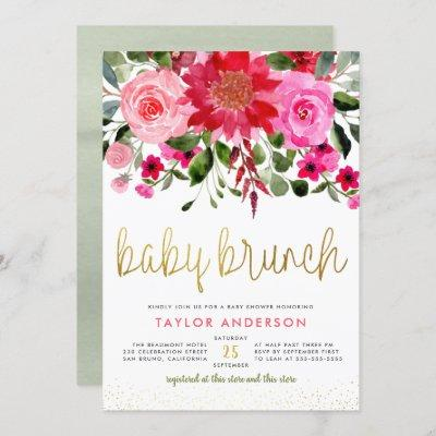 Pink & Red Garden Greenery Baby Brunch Invitation