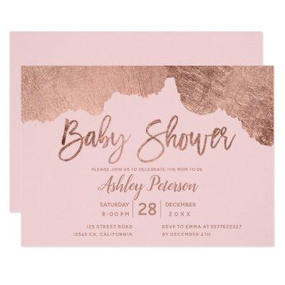 Pink rose gold brushstrokes typography baby shower Invitations