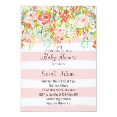 Pink Roses Watercolor Baby Shower Invitation