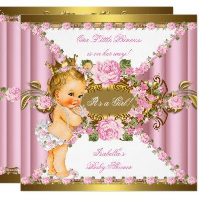 Pink Roses White Gold Princess Baby Shower Blonde Invitations