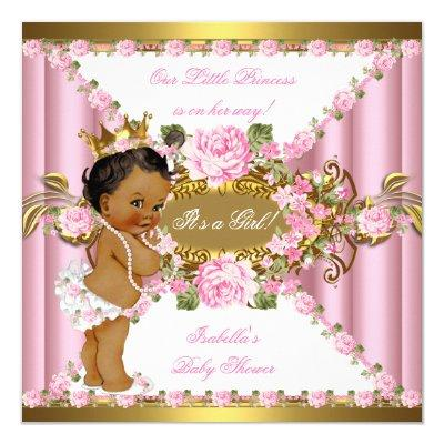 Pink Roses White Gold Princess Ethnic Invitations