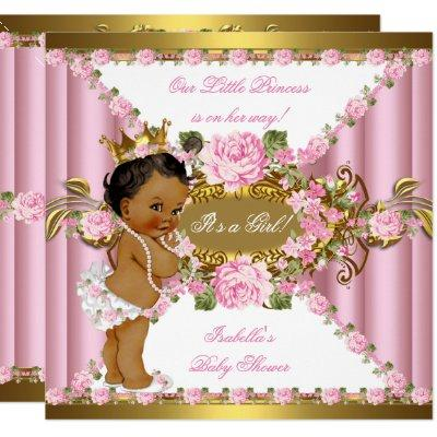 Pink Roses White Gold Princess Baby Shower Ethnic Invitations