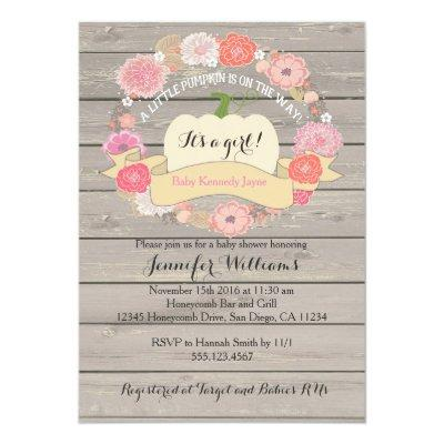 Pink Rustic White Pumpkin Baby Shower Invitations