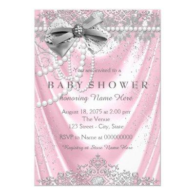 Pink Satin Pearl Girly Baby Shower Invitation