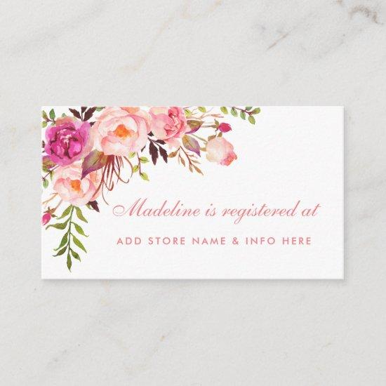 Pink Shower Registry Insert Card Baby Shower Invitations