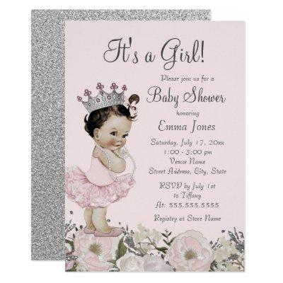 Pink Silver Floral Princess Baby Shower Invitation