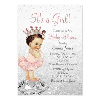 Pink Silver Glitter Princess Baby Shower Invitation