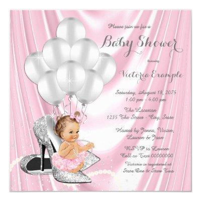 Pink Silver Gray Pearl High Heel