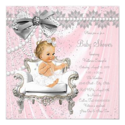 Pink Silver Pearl Chair Girl Baby Shower Invitations