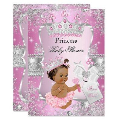 Pink Silver Princess Baby Shower Brunette Girl Invitations