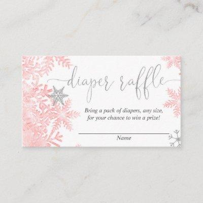 Pink silver snowflake baby shower diaper raffle enclosure card