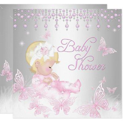 Pink Silver Sprinkle Butterfly Baby Shower Blonde Invitations