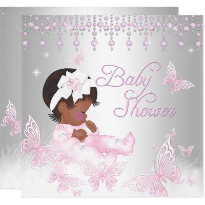 Pink Silver Sprinkle Butterfly Baby Shower Ethnic Invitations